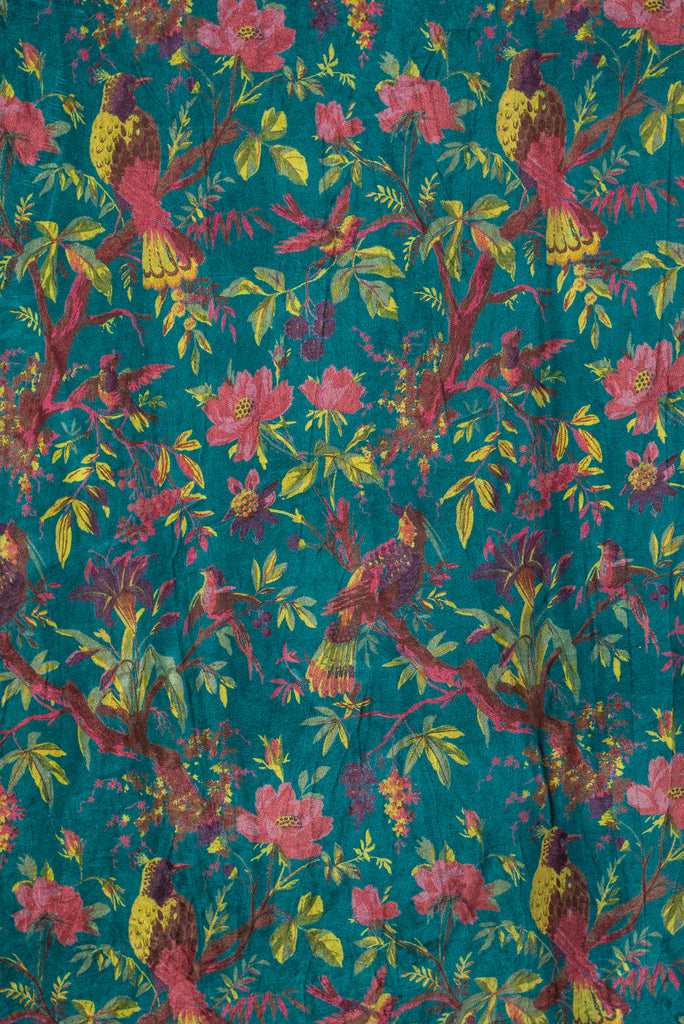 Blue Bird of Paradise Velvet Fabric by the Metre