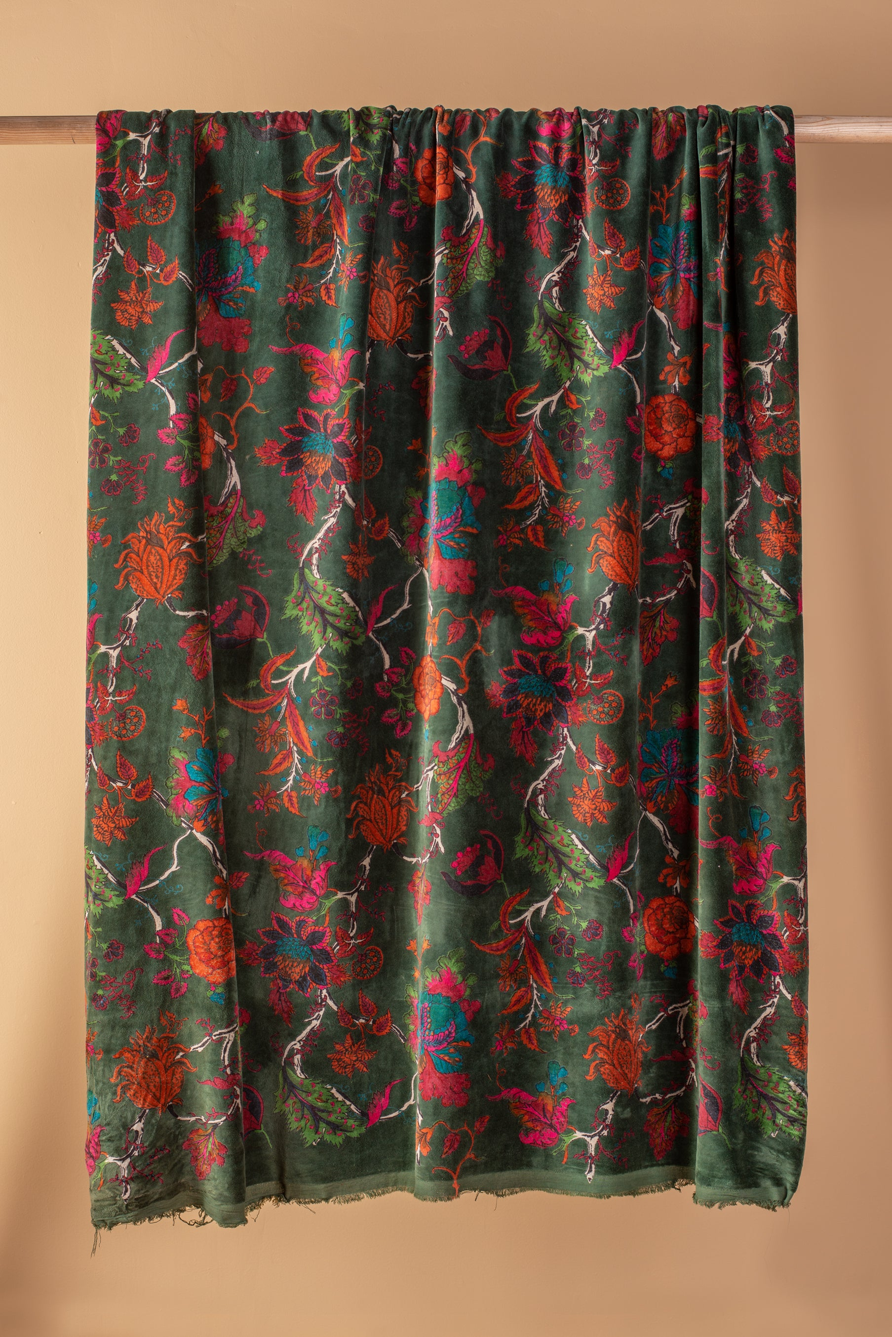Dark Green Floral Velvet Fabric by the Metre