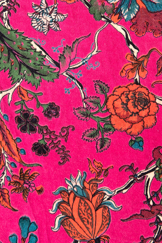 Fuchsia Floral Velvet Fabric by the Metre