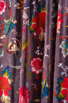 Black Plum Floral Velvet Fabric by the Metre