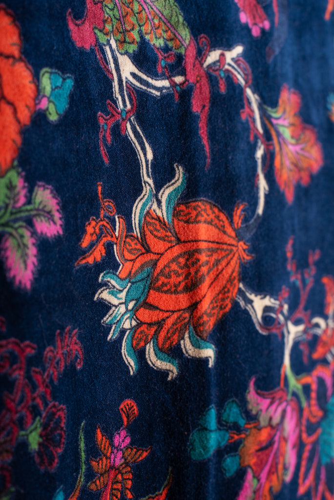 Navy Tree of Life Velvet Fabric by the Metre