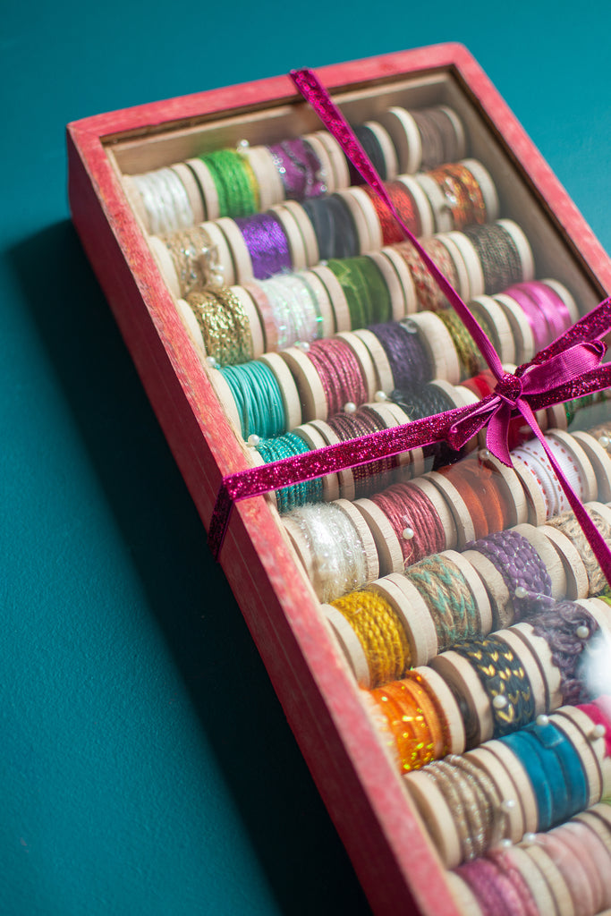 Box of 50 Assorted Threads and Ribbons in Mango Wood Box