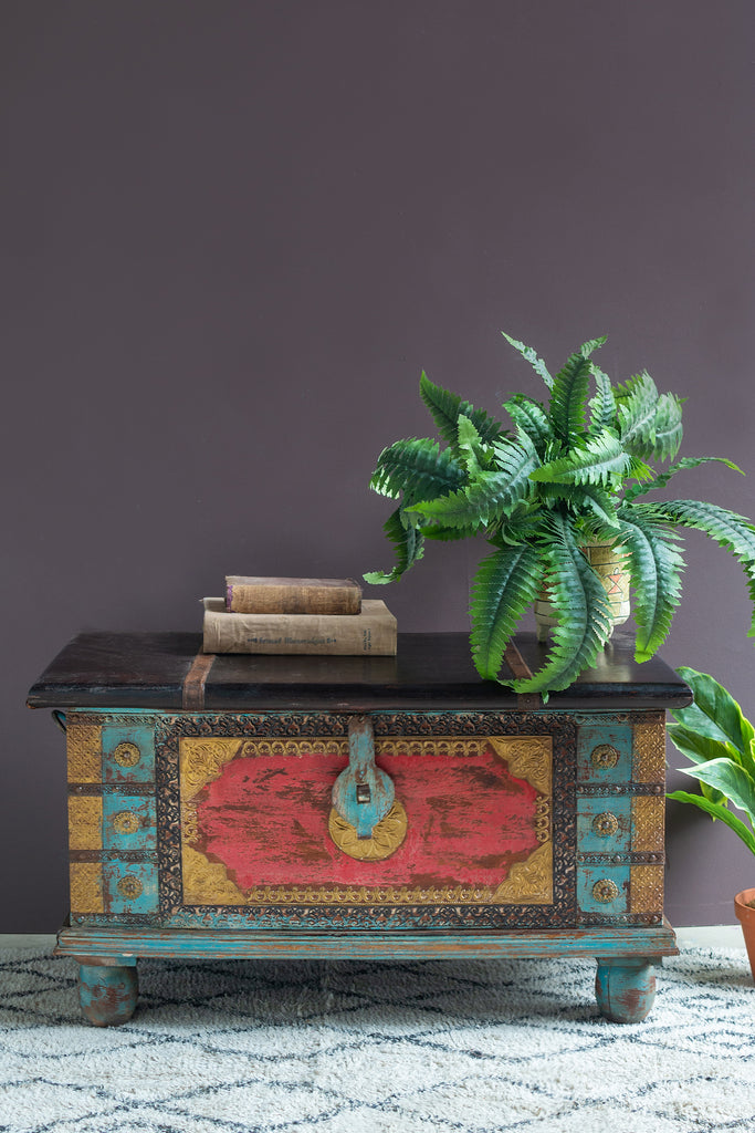 Red and Blue Reclaimed Wooden Chest with Brass Trim