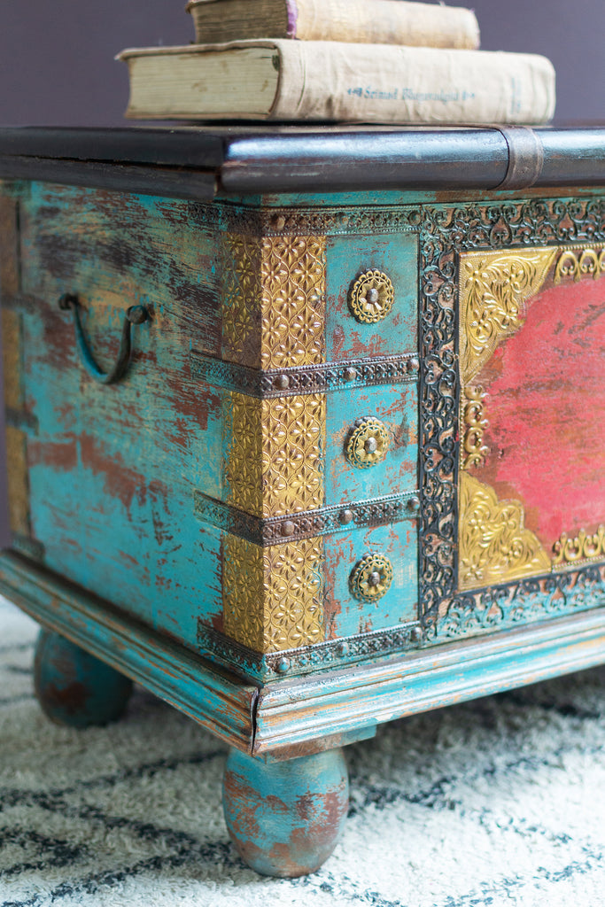 Red and Blue Wooden Chest with Brass Trim