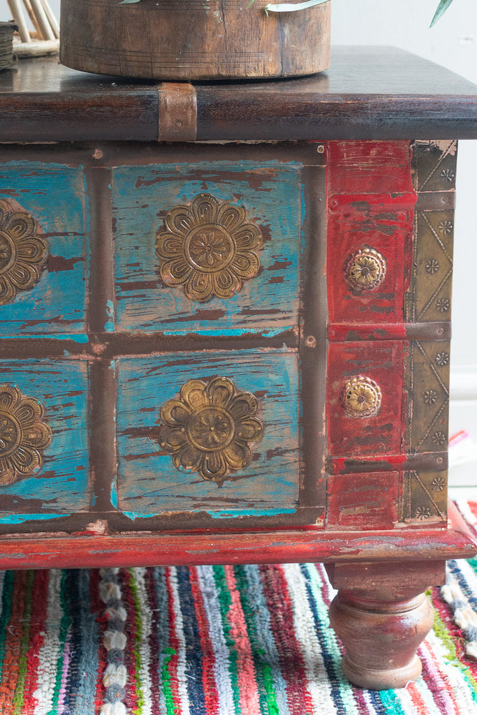 Blue Painted Trunk made from New and Reclaimed Wood with a Metal Trim
