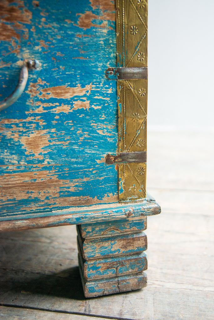 Blue and Orange Reclaimed Wooden Chest with Brass Trim