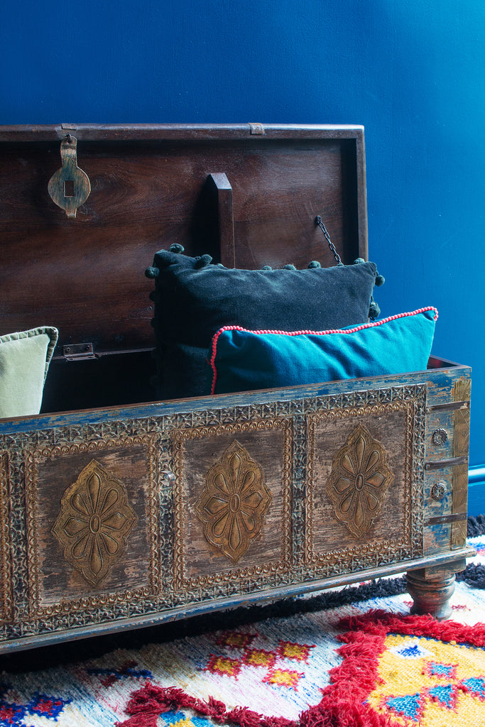 Green Wooden Chest with Brass Trim