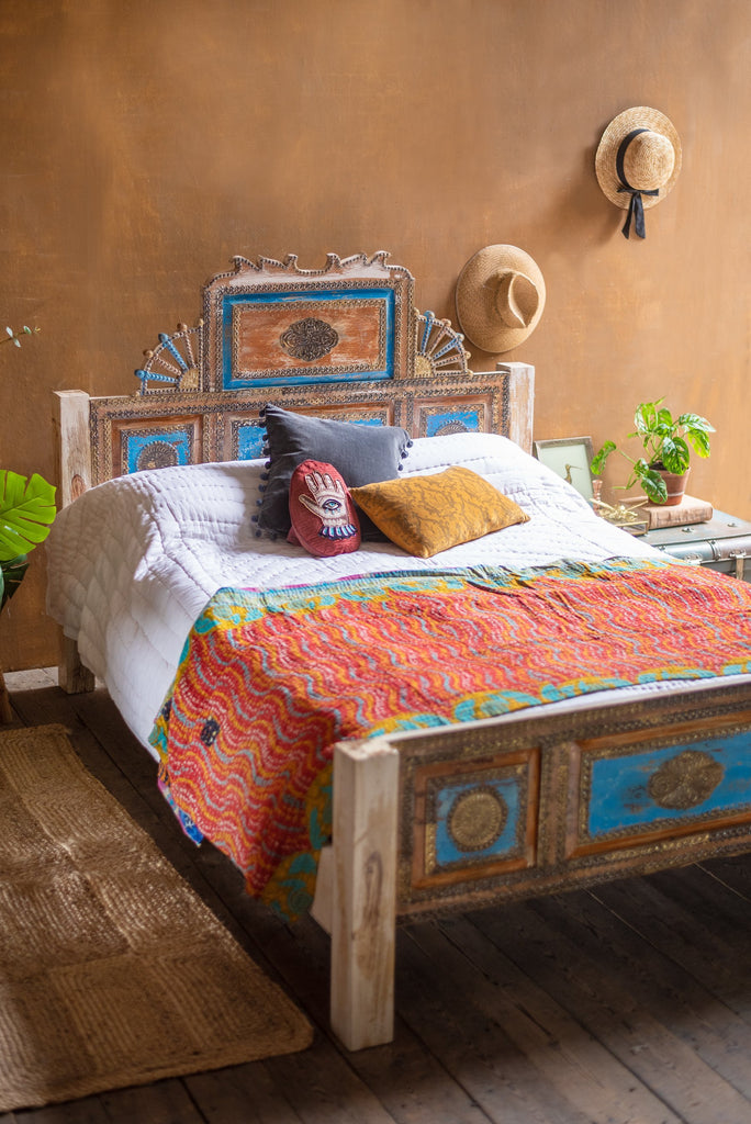 Bohemian Carved Bed with Vintage Finish