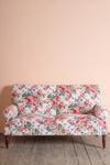 Cream Roses Cotton Velvet Two Seater Sofa