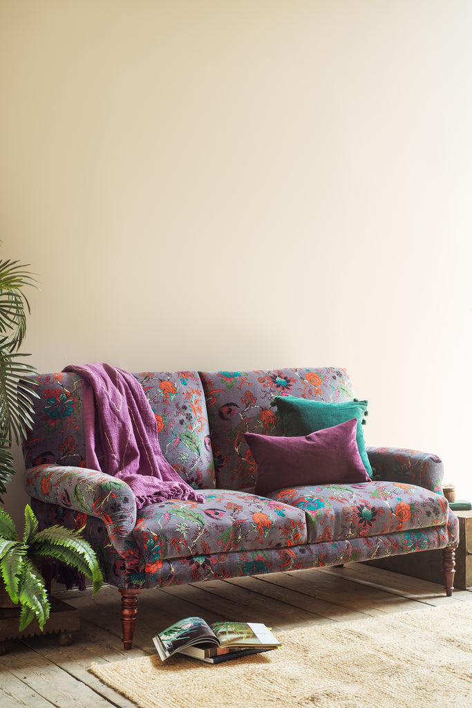 Black Plum Floral Cotton Velvet Two Seater Sofa