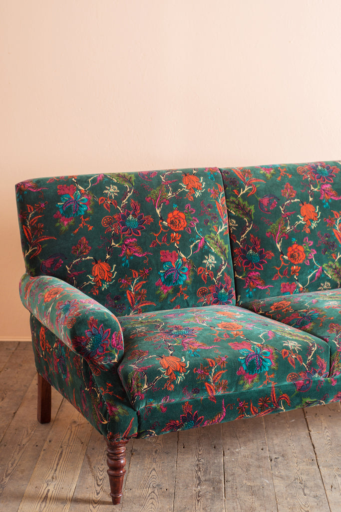 Bayberry Green Floral Cotton Velvet Two Seater Sofa