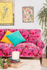 Magenta Pink Bird of Paradise Cotton Velvet Two Seater Sofa