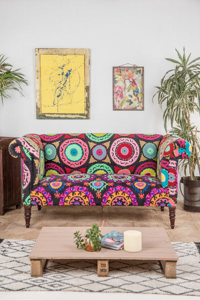 Salvador Embroidered Cotton & Velvet Sofa