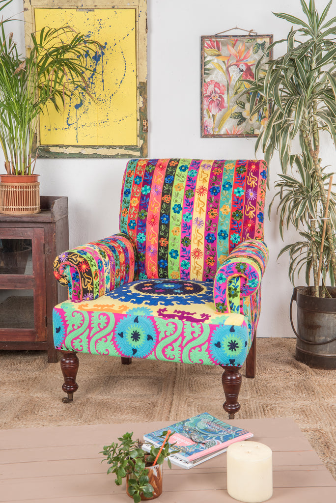 Embroidered Nishi Cotton Armchair