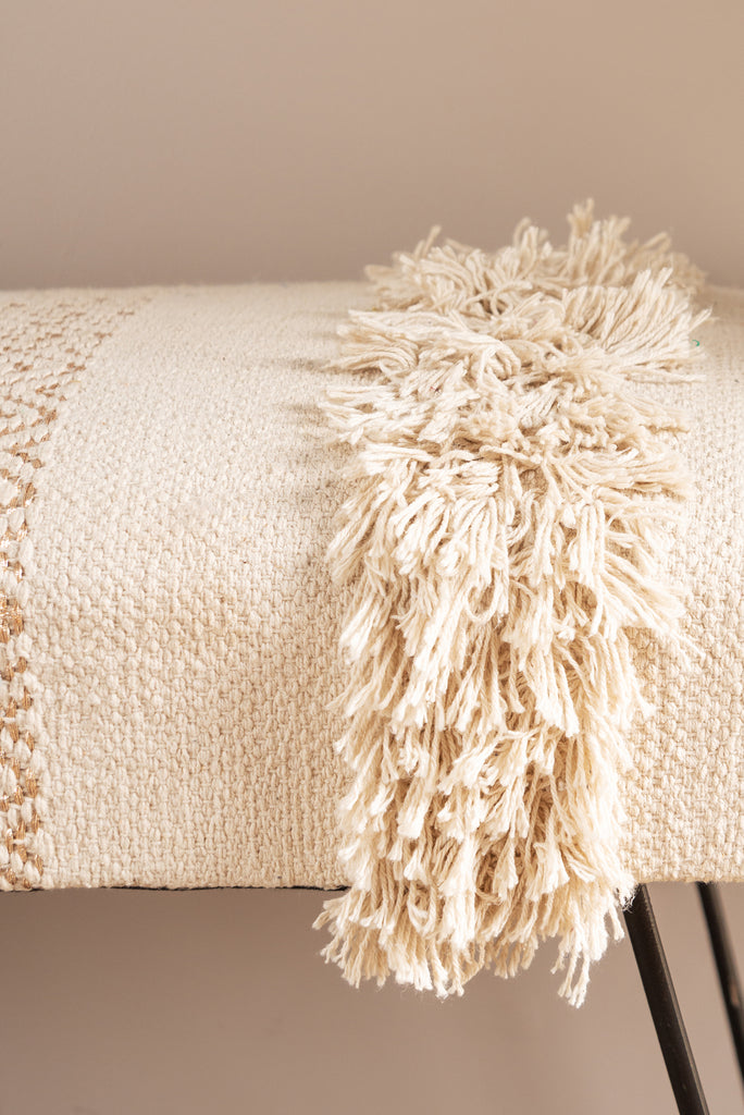 Cream Bench with Knots and Tassels
