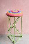 Nahimana Embroidered Stool with Geometric Base