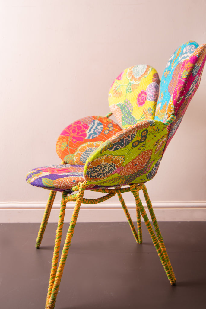 Calla Lily Kantha Work Flower Chair
