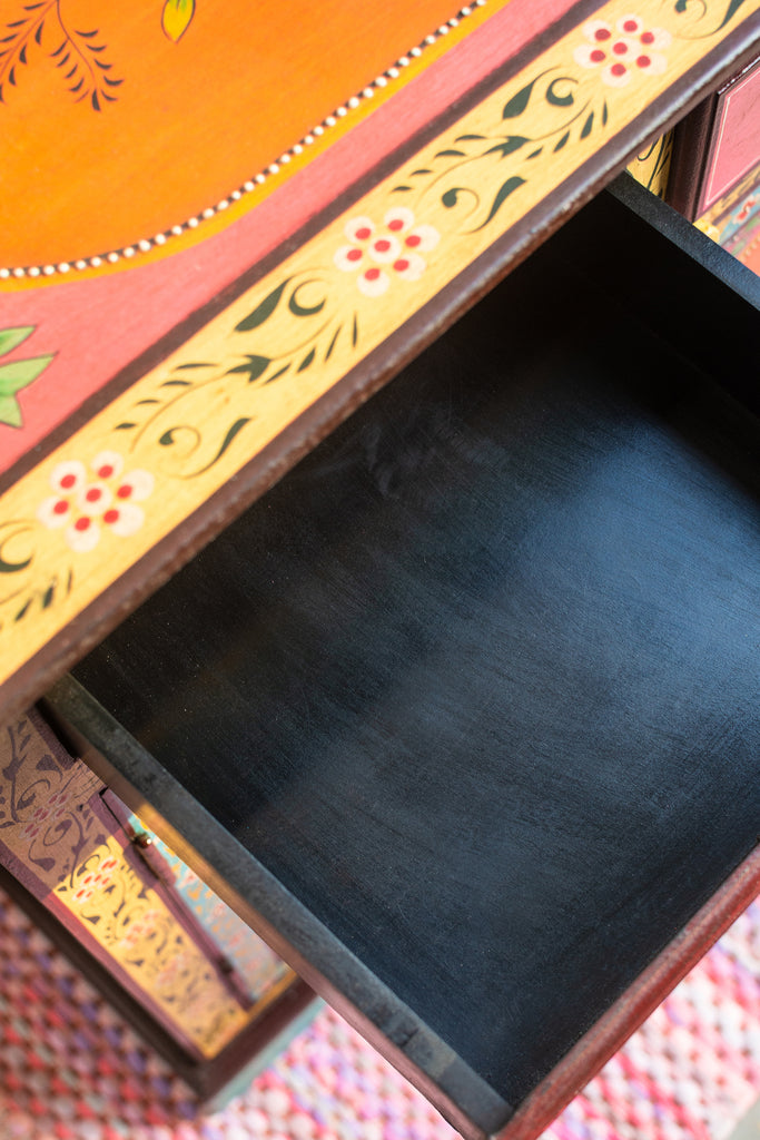 Pavo Hand Painted Wooden Cabinet