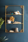 Glass & Brass Display Cabinet with 2 Shelves