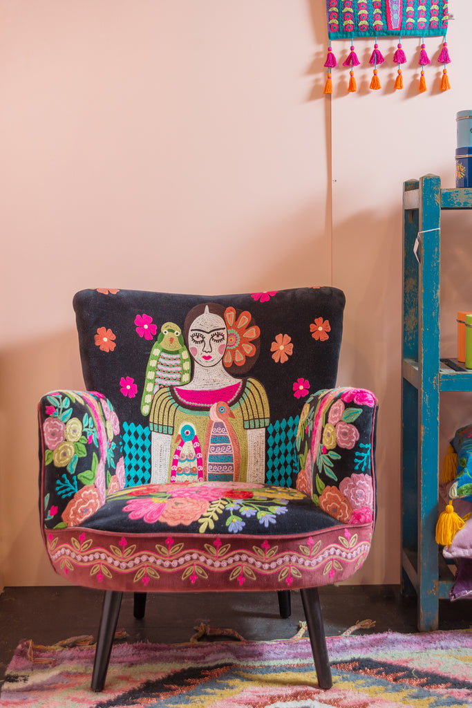 Frida Kahlo Embroidered Velvet Armchair