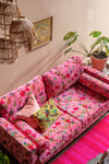 Milla Pink Bird of Paradise Velvet Sofa