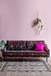 Florence Black Bird of Paradise Velvet Sofa
