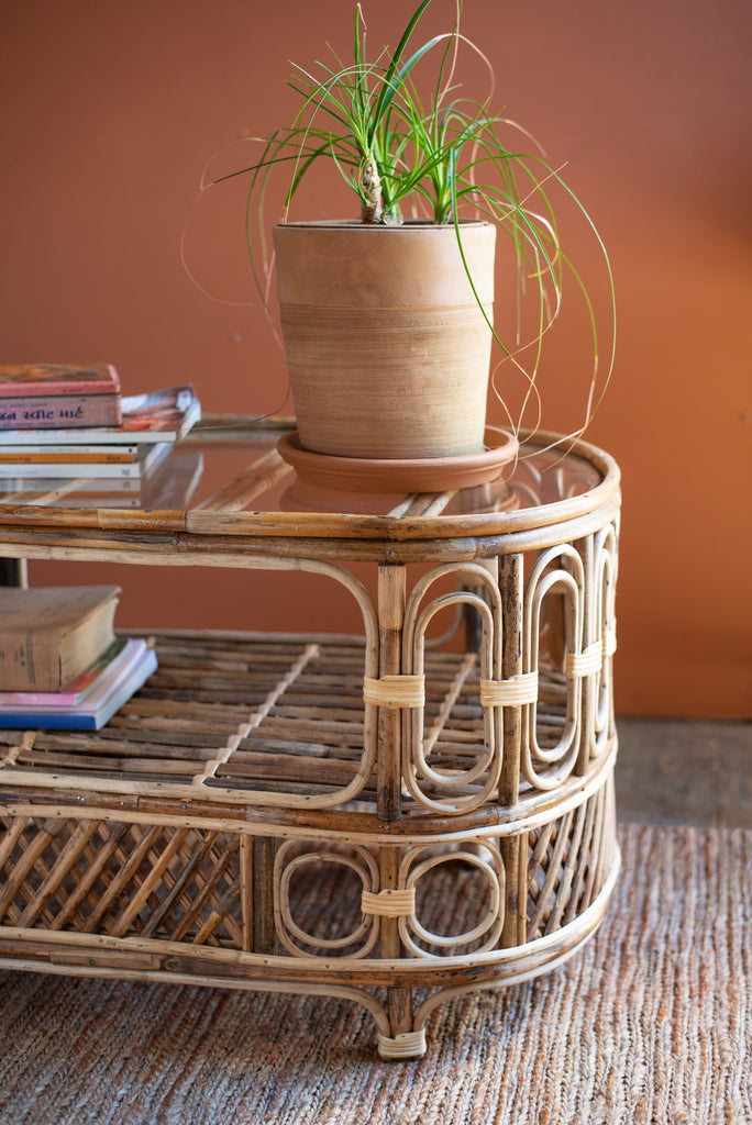 Cane Oval Side Table