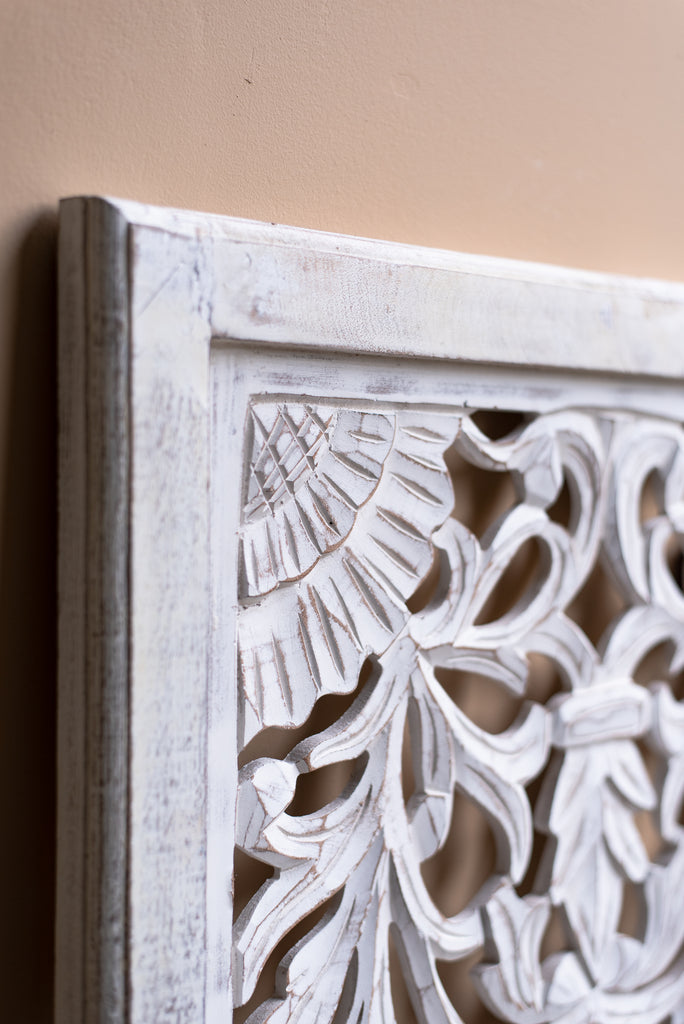 White Carved Wood Wall Panel