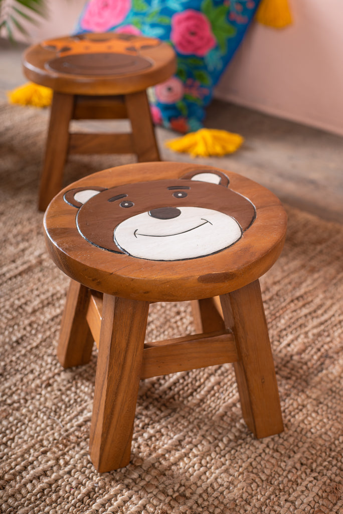 Children's Wooden Bear Stool