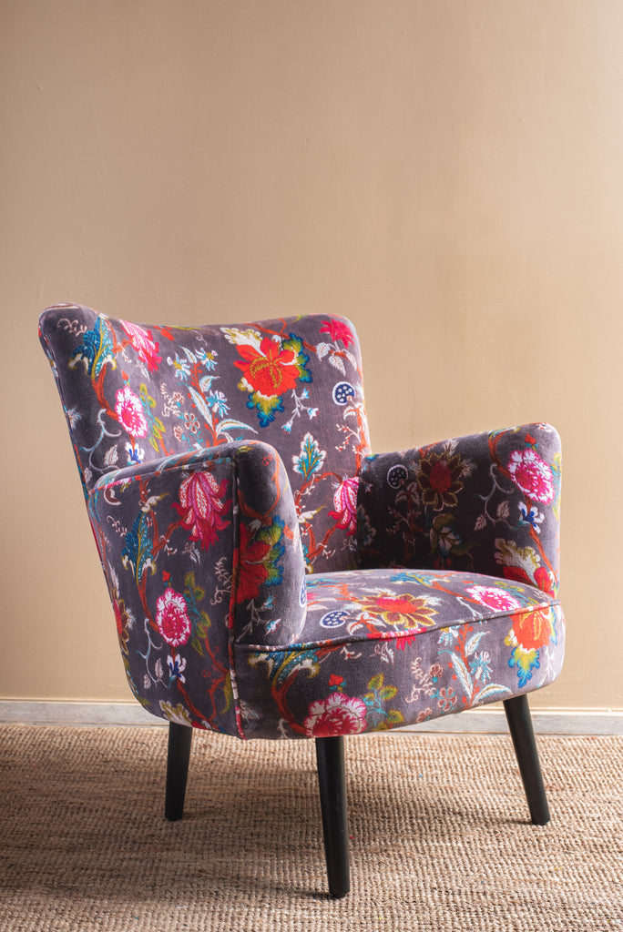 Black Plum Floral Velvet Chair