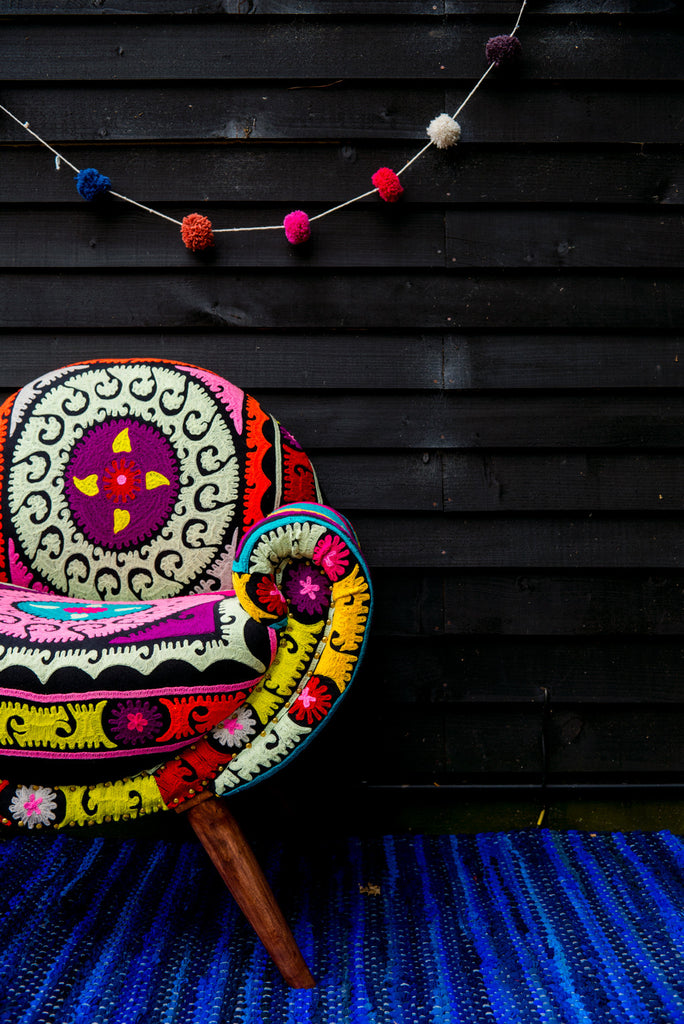 Neon Aztec Embroidered Nest Chair