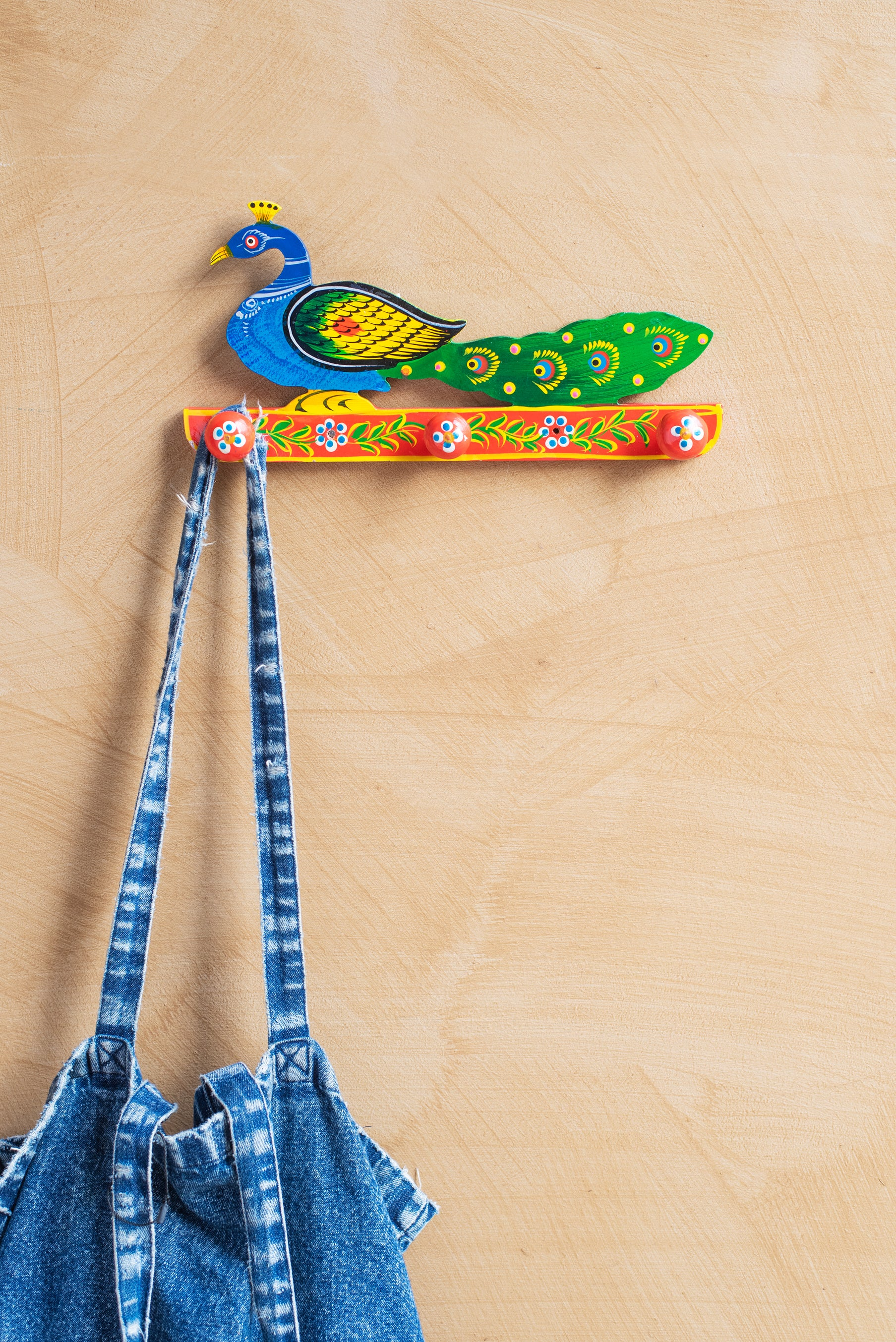 Peacock Hand Painted Coat Hanger