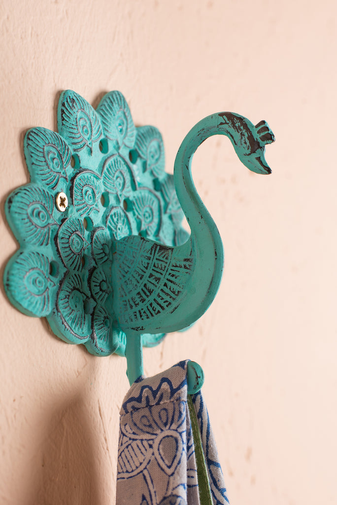 Verdigris Iron Peacock Hook