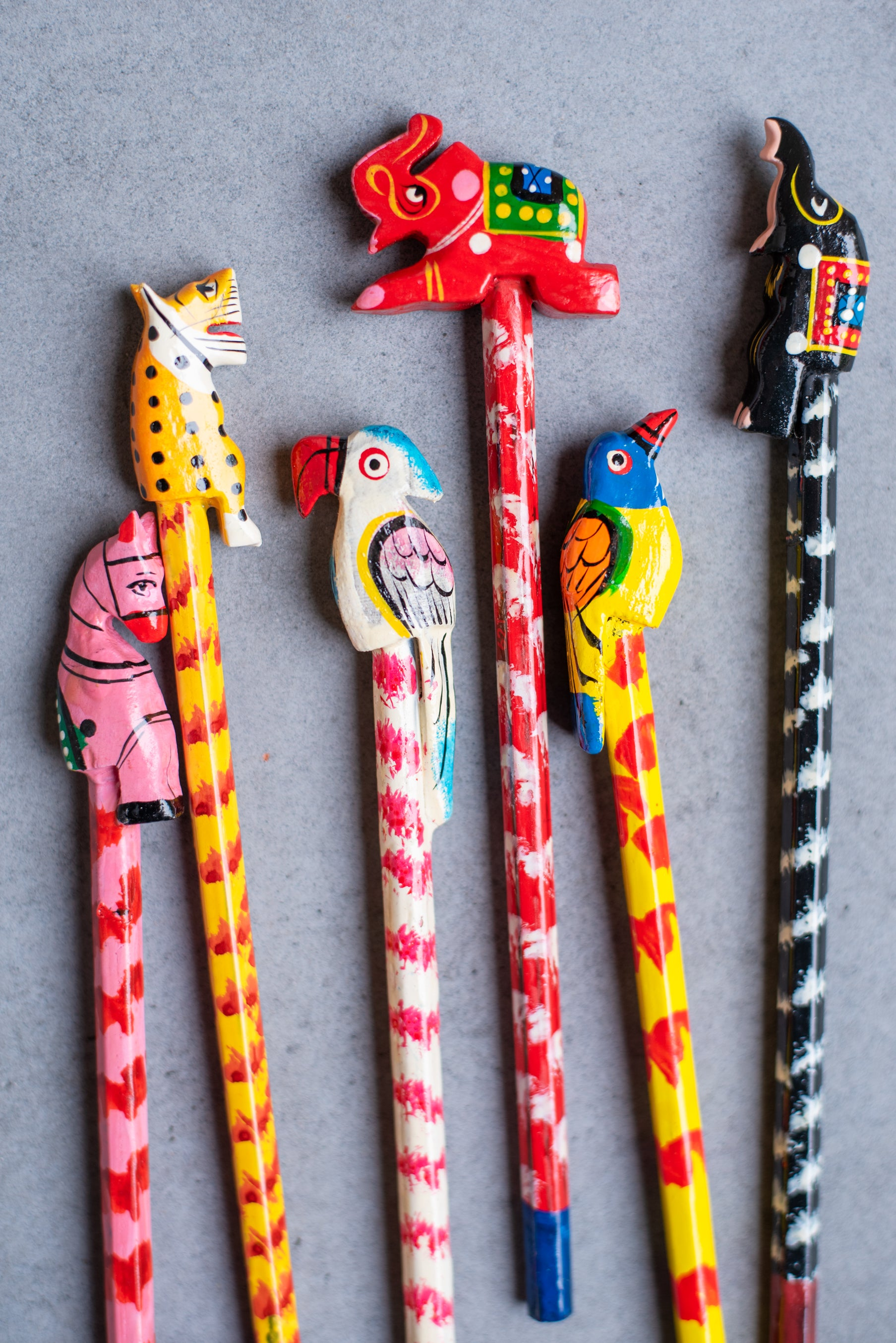 Set of Six Animal Top Pencils