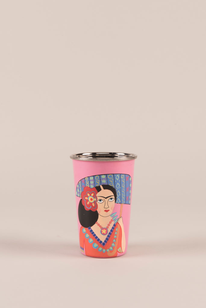 Frida Kahlo Pink Stainless Steel Tumbler