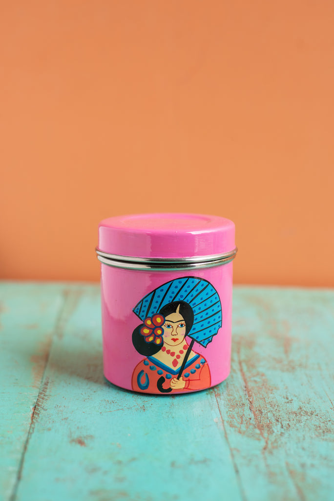Hand Painted Frida Kahlo Stainless Steel Canisters in 4 Colours