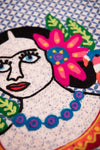 Blue Frida Kahlo Embroidered Tea Towel