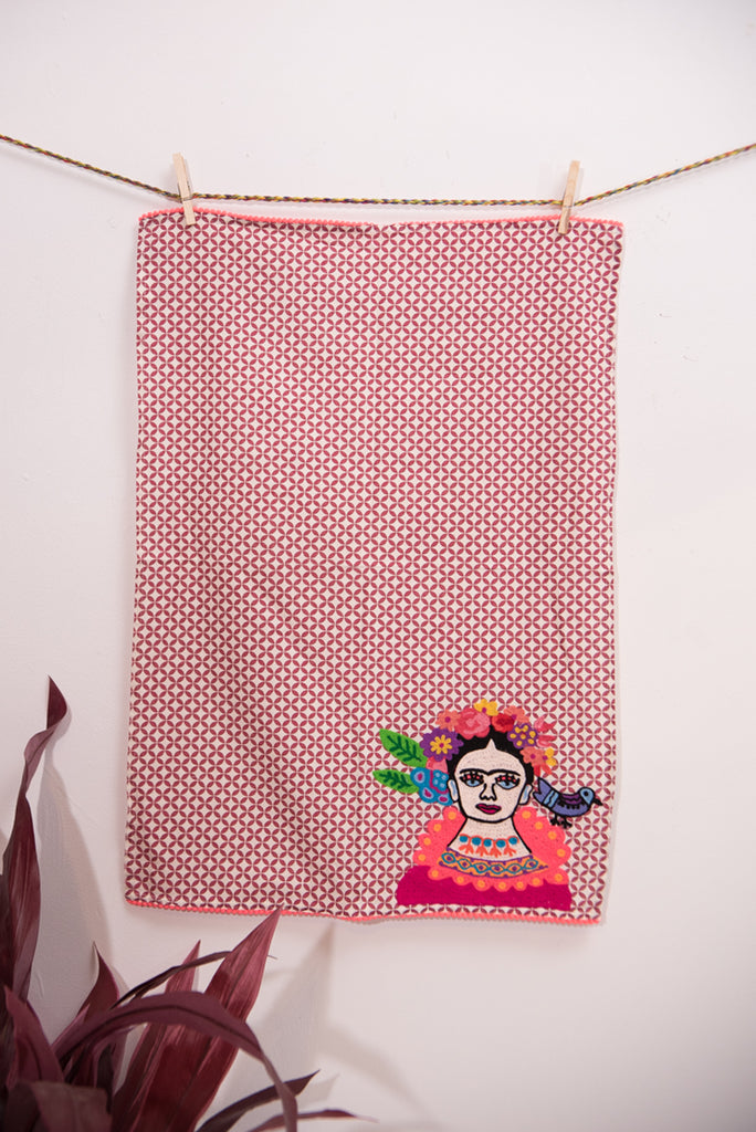 Red Frida Kahlo Embroidered Tea Towel