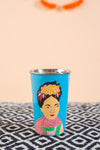 Hand Painted Frida Kahlo Blue Stainless Steel Tumbler