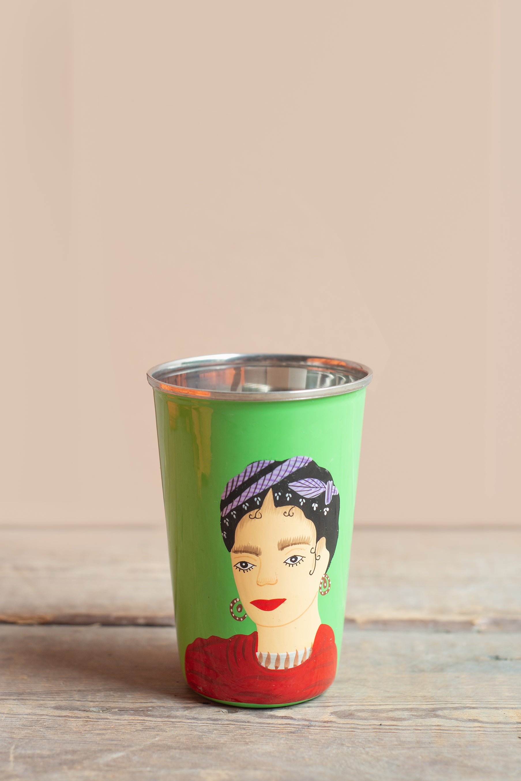 Hand Painted Frida Kahlo Green Stainless Steel Tumbler