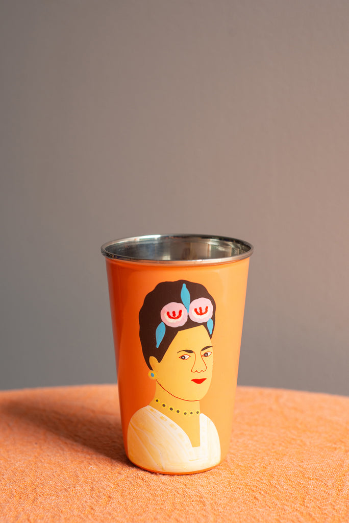 Hand Painted Frida Kahlo Orange Stainless Steel Tumbler