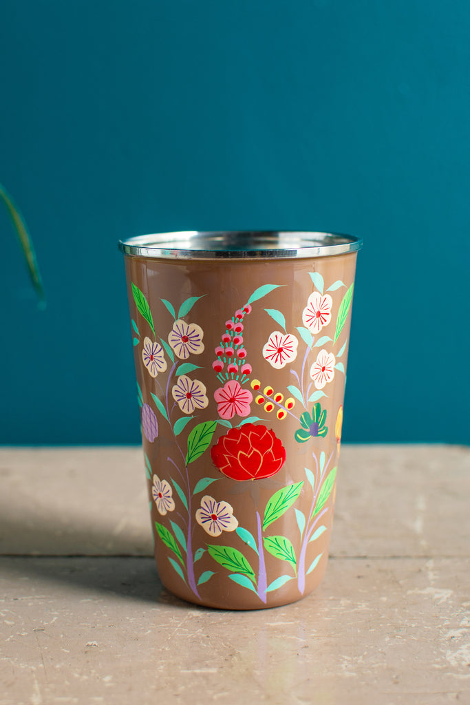 Hand Painted Floral Stainless Steel Tumbler