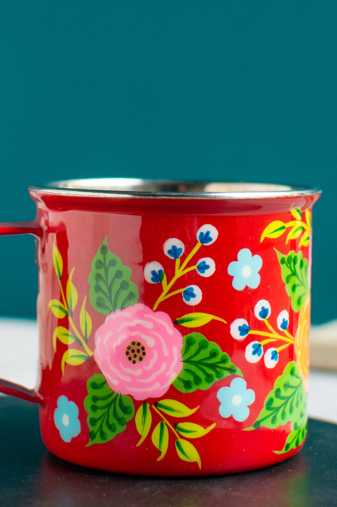 Handpainted Stainless Steel Mug Red