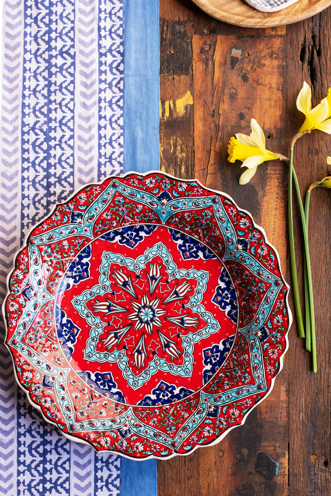 Red Hand Painted Turkish Plate