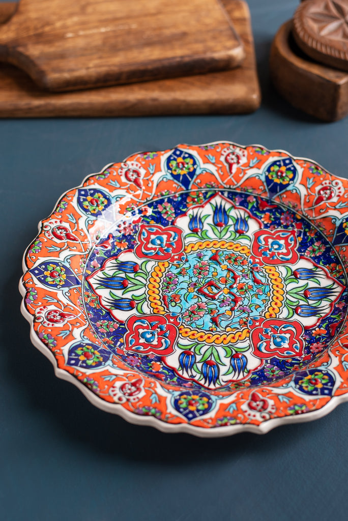 Orange and Blue Hand Painted Turkish Plate