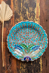 Peacock Blue Hand Painted Turkish Plate