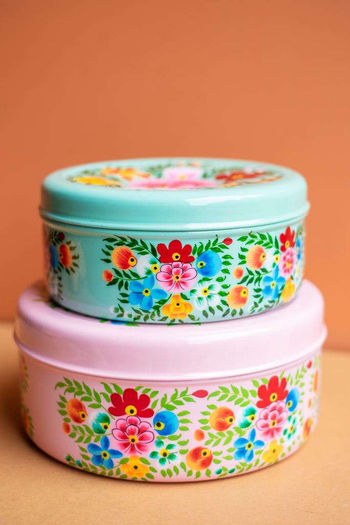 Pink Hand Painted Cake Tin