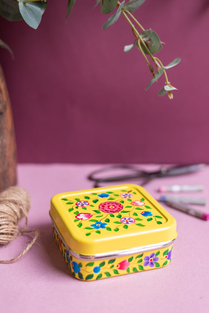 Yellow Hand Painted Kashmiri Square Sandwich Tin