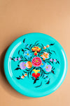 Turquoise Hand Painted Kashmiri Small Round Tin