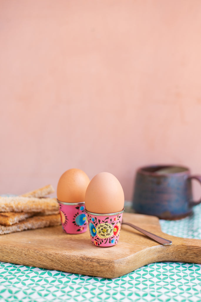 Pink Hand Painted Kashmiri Egg Cup